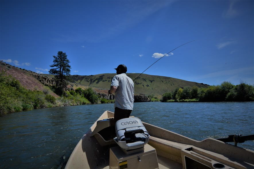 Joe Casting Out of Drift Boat in Yakima Canyon